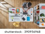 top view at creative agency.  a ... | Shutterstock . vector #390956968