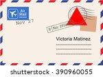 postcard template vector  | Shutterstock .eps vector #390960055