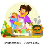 stressed young woman doing many ... | Shutterstock .eps vector #390961252