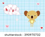 happy koala bear valentine... | Shutterstock .eps vector #390970732