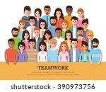 group of businessman and... | Shutterstock .eps vector #390973756