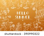 hello summer. vector hand draw...   Shutterstock .eps vector #390990322