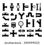 set of black isolated plumbing...   Shutterstock .eps vector #390999025