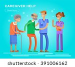 young man and women caregiwer ... | Shutterstock .eps vector #391006162