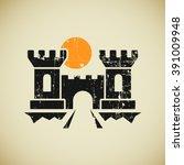 ancient citadel logo in grunge... | Shutterstock .eps vector #391009948