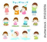 pack of children character... | Shutterstock .eps vector #391010056
