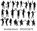 girl black silhouettes taking...   Shutterstock .eps vector #391015672