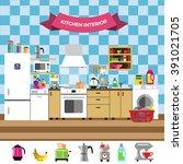 colorful cozy kitchen interior... | Shutterstock .eps vector #391021705