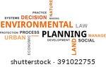 a word cloud of environmental... | Shutterstock .eps vector #391022755