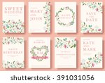 Set of flower wedding ornament concept. Art traditional, magazine, book, poster, abstract, element. Vector layout decorative ethnic greeting card or invitation design background | Shutterstock vector #391031056