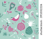 vector floral pattern with bird ... | Shutterstock .eps vector #391032226