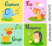 cute zoo alphabet. e  f  g h... | Shutterstock . vector #391047475