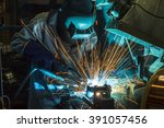 worker with protective mask... | Shutterstock . vector #391057456