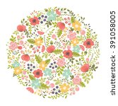 floral design element | Shutterstock .eps vector #391058005