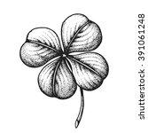 Hand Drawn Four Leaf Clover....