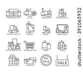 shopping flat line icons set...