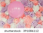 Pink Baloon With Paper Flowers