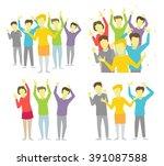 happy people joyful group... | Shutterstock .eps vector #391087588