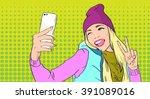 girl taking selfie photo on...   Shutterstock .eps vector #391089016