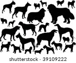 Stock photo illustration with dog silhouettes isolated on white background 39109222