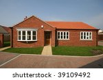 Newly built detached bungalow in UK - stock photo