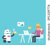 domestic and personal robot in... | Shutterstock .eps vector #391109776