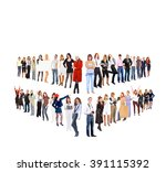 corporate teamwork standing... | Shutterstock . vector #391115392