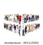 corporate teamwork standing... | Shutterstock . vector #391115392