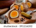 kokurki  rye dough wrapped hard ... | Shutterstock . vector #391116202