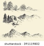 nature elements set  mountains... | Shutterstock .eps vector #391119802