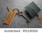 higher education key tag with... | Shutterstock . vector #391120102