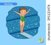 diver girl. diving. sport....   Shutterstock .eps vector #391121476