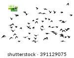 flying birds in the sky. vector | Shutterstock .eps vector #391129075