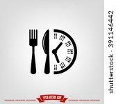 fork knife clock icon vector.   Shutterstock .eps vector #391146442