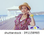 close up asia woman face with... | Shutterstock . vector #391158985