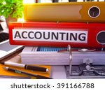 accounting   red ring binder on ... | Shutterstock . vector #391166788
