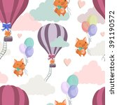 the cute pattern with the foxes ...   Shutterstock .eps vector #391190572