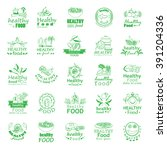 healthy food icons set  ... | Shutterstock .eps vector #391204336