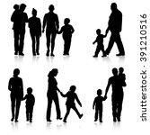 Black silhouettes Family on white background. Vector illustration. | Shutterstock vector #391210516