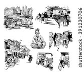 hand drawn set of india life.... | Shutterstock .eps vector #391230706