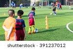 children training in soccer... | Shutterstock . vector #391237012
