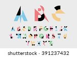 black alphabetic fonts  with... | Shutterstock .eps vector #391237432