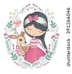 girl vector t shirt print dear... | Shutterstock .eps vector #391266046