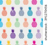 exotic pineapple pattern.... | Shutterstock .eps vector #391270456