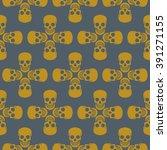 seamless pattern with skulls   Shutterstock .eps vector #391271155