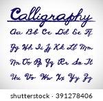 calligraphy font alphabet set.... | Shutterstock .eps vector #391278406