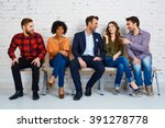 group of happy young people... | Shutterstock . vector #391278778