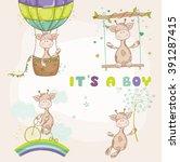 Stock vector cute giraffe set baby shower or arrival card in vector 391287415