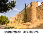 medieval wall around the old... | Shutterstock . vector #391288996