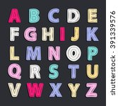 alphabet vector doodle isolated ... | Shutterstock .eps vector #391339576